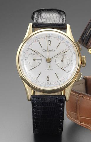 Eska Watch Co. An 18ct gold manual wind chronograph wristwatch Cedreclair, 1950's