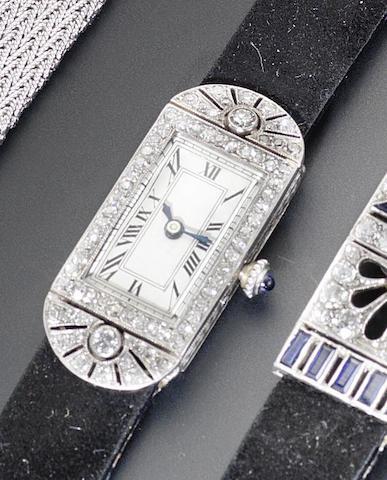 Ebel. A lady's platinum and gold diamond set wristwatch 1920's