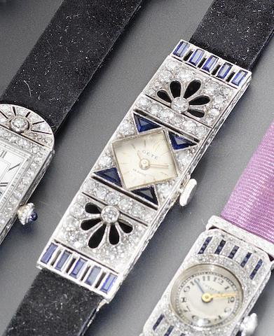 Swiss. A platinum diamond and sapphire set cocktail wristwatch1920's