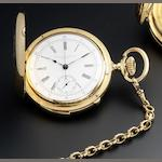 Patek Philippe. An 18ct gold minute repeating full hunter pocket watch with short duration chronograph Case No.208870, Movement No.90010, Made in 1890, Sold August 14th 1894