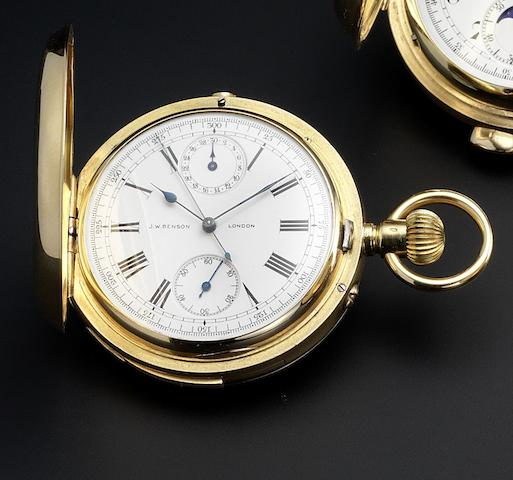 Swiss. A fine 18ct gold early 20th century full hunter minute repeating chronograph pocket watch Made for J.W.Benson, London, circa 1900