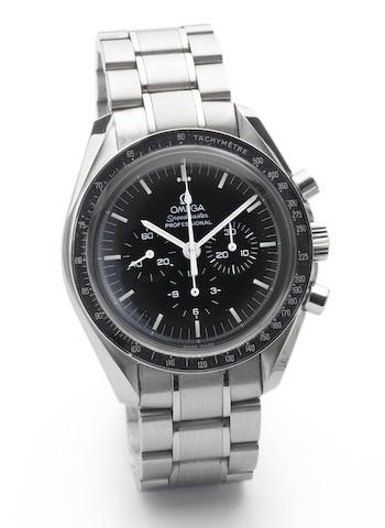 Omega. A limited edition stainless steel chronograph bracelet watch together with fitted box and papersSpeedmaster, Case No.77154577, Sold April 7th 2006