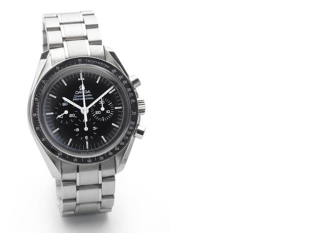 Omega. A limited edition stainless steel chronograph bracelet watch together with fitted box and papers Speedmaster, Case No.77154577, Sold April 7th 2006
