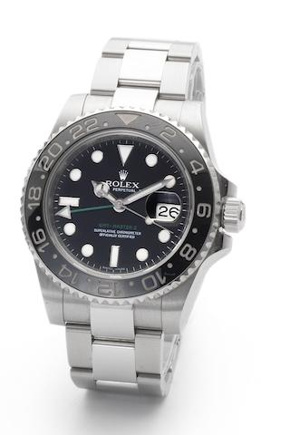Rolex. A fine stainless steel automatic two time zone calendar wristwatch GMT Master II, Ref:116710LN, Case No. MO45981, Sold 29th October 2007