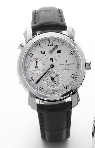 Vacheron Constantin. A fine 18ct white gold automatic dual time wristwatch with date and regulator dialRegulatuer Chronometer, Malte, Case No.1149659, Movement No.5150900, Sold Wempe 22nd February 2008