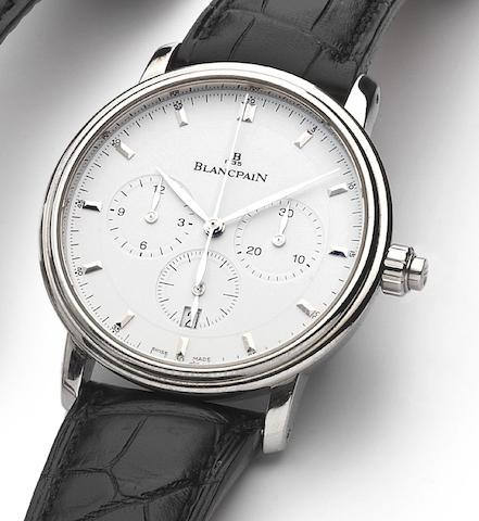 Blancpain. A stainless steel automatic single button chronograph wristwatch with fitted boxVilleret Ref.6185-1127, No.391, Sold on 30th November 2007