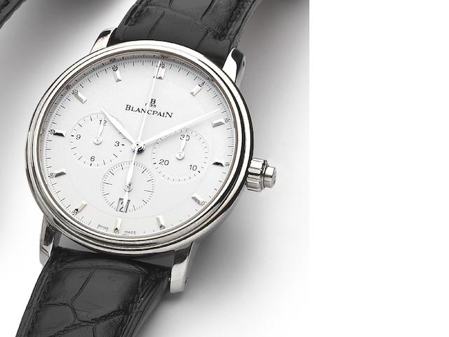 Blancpain. A stainless steel automatic single button chronograph wristwatch with fitted box Villeret Ref.6185-1127, No.391, Sold on 30th November 2007