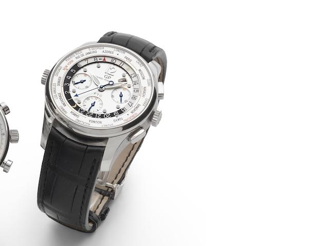 Girard Perregaux. A fine and rare stainless steel automatic chronograph limited edition wristwatch with world time and calendar ww.tc-Financial, Ref:49805, Limited Edition 401/500, Sold 17th April 2008