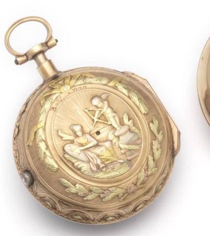 L'Epine. A three colour gold consular cased key wound repeating watchCirca 1790