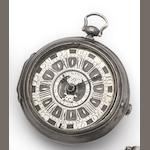 Charles Pingstone. A silver pair cased key wound watch with silver champleve memento mori dial Circa 1730