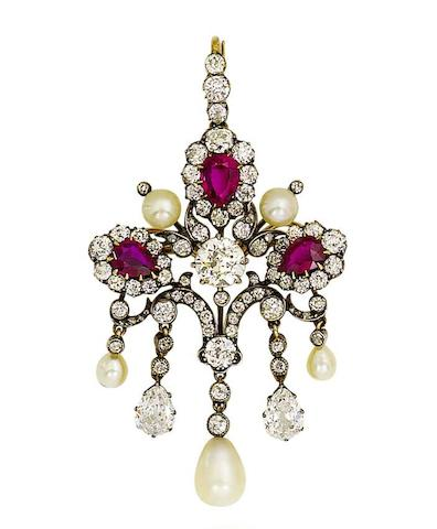 A late 19th century ruby, pearl and diamond brooch