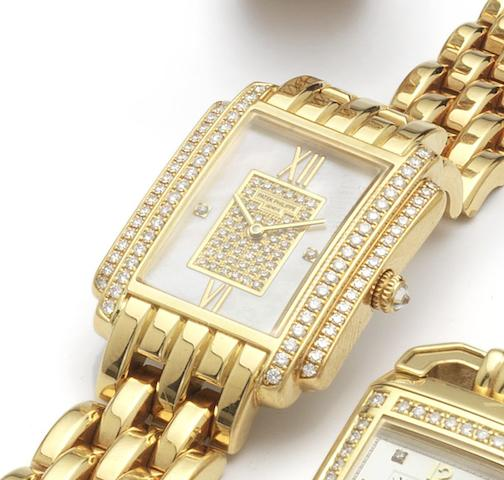 Patek Philippe. A fine lady's 18ct gold and diamond set quartz bracelet watchRecent