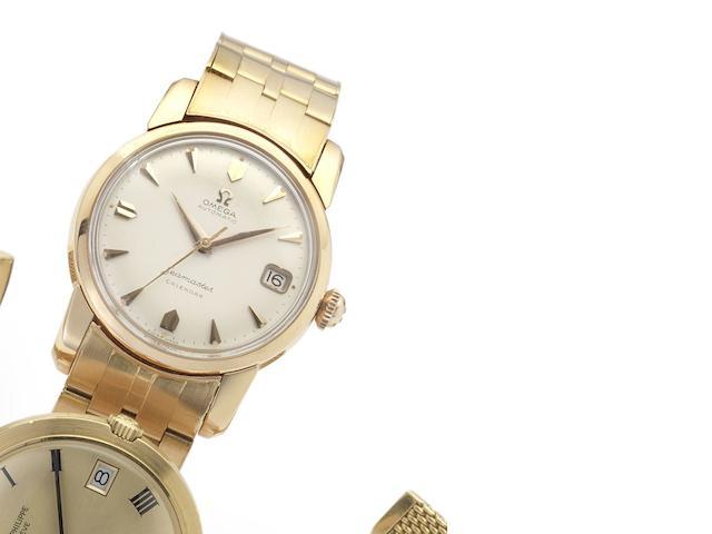 Omega. A fine and rare 18ct pink gold automatic calendar bracelet watch Seamaster Calendar, Movement No.16484452, circa 1958