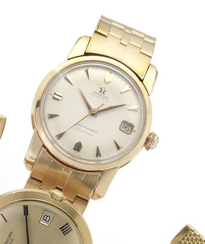 Omega. A fine and rare 18ct pink gold automatic calendar bracelet watch Seamaster Calendar, Movement No.16484452, circa 1958