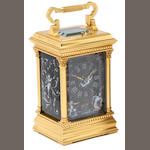 A late 19th century French limoges enamel decorated repeating carriage clock Numbered 1468