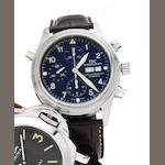 IWC. A fine stainless steel automatic split second chronograph calendar wristwatch together with fitted presentation box and papers Doppelchronograph, Ref:3713, Case No.2951014, Sold February 1st 2008