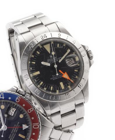 Rolex. A fine stainless steel centre seconds automatic wristwatch with 24-hour bezel and orange handExplorer II, Retailed by Tiffany & Co, Ref:1655, Case No.7364012, circa 1981