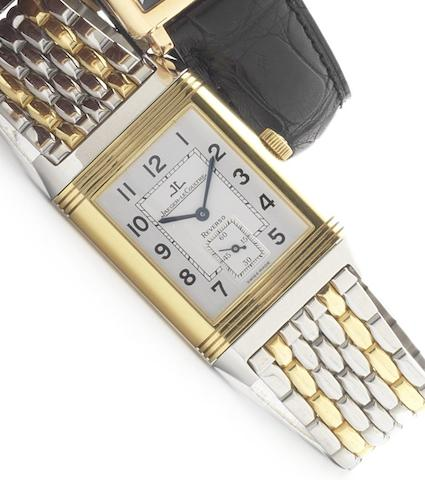Jaeger LeCoultre. A stainless steel and 18ct gold reversible wristwatch with factory boxReverso, Ref:270.5.62, circa 1990