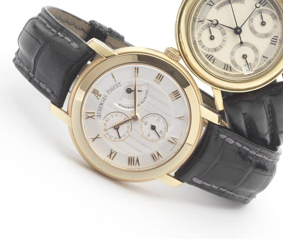 Audemars Piguet. A fine 18ct rose gold manual wind calendar wristwatch with power reserveJules Audemars, recent