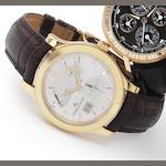 Jaeger LeCoultre. A fine 18ct rose gold wristwatch with power reserve and night and day sector Ref:146.217, No.99, recent