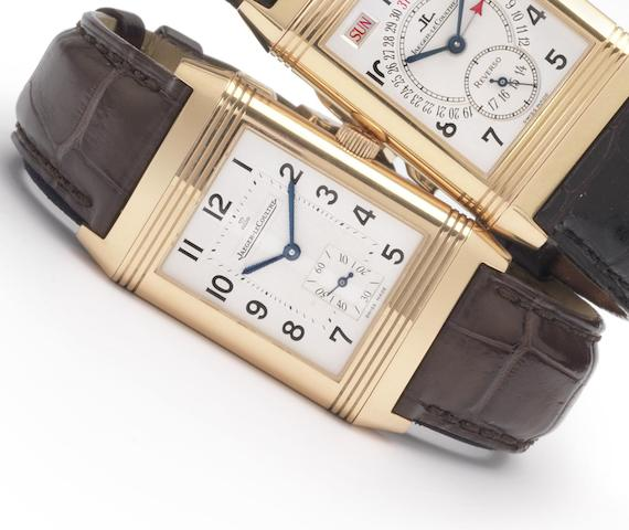 Jaeger Le Coultre. A fine 18ct rose gold reversible wristwatch with box and papersRef: 270.2.62, recent