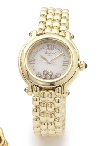 Chopard. An 18ct gold and diamond set centre seconds calendar bracelet watch Happy Sport, Case No.469792, 1990's