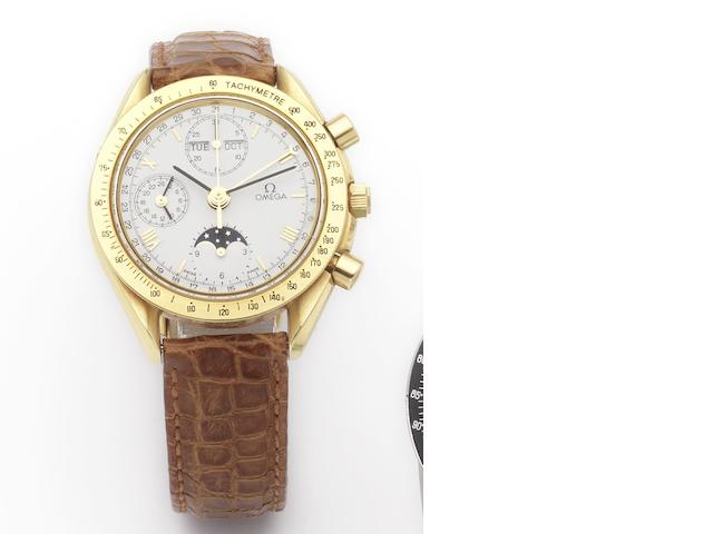 Omega. An 18ct gold automatic wristwatch with chronograph and calendar Speedmaster, 1980's