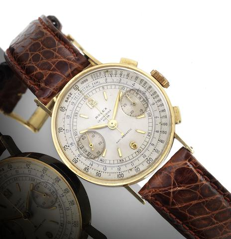 Rolex. A fine and rare 18ct gold chronograph wristwatchRef:3371, Case No.52003, circa 1939
