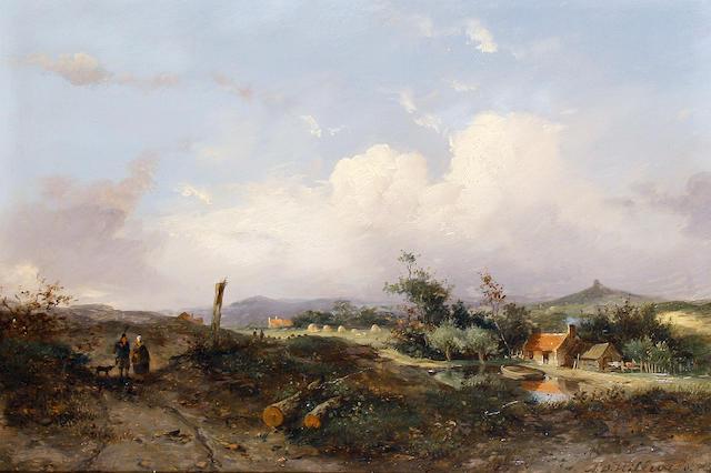 Adrianus David Hilleveld (Dutch, 1838-1869) Figures walking on a country path