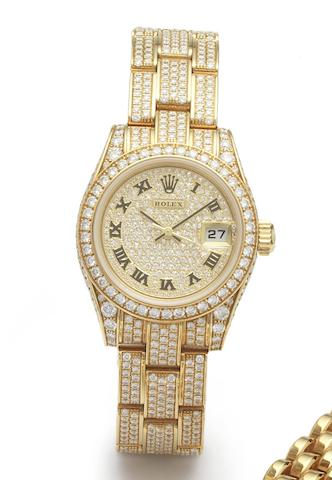 Rolex. A fine 18ct gold and diamond set automatic calendar bracelet watch together with fitted leather Rolex jewellery box and papers Datejust, Ref.179458, Serial No.K566765, Sold Harrods 25th December 2002