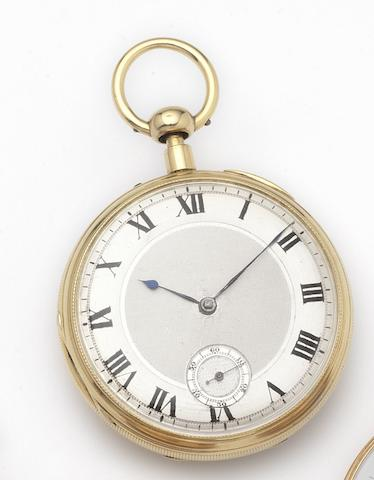 Viner. An 18ct gold open face key wind quarter repeating skeletonised pocket watchNumber 2/507, Hallmarked London 1866