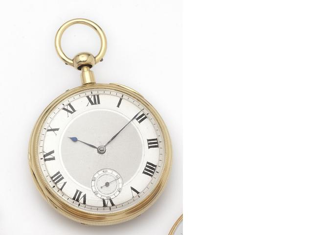 Viner. An 18ct gold open face key wind quarter repeating skeletonised pocket watch Number 2/507, Hallmarked London 1866