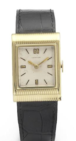 Cartier. A fine and rare 18ct gold hooded Lug Wristwatch once owned by the Late Cecil Beaton Case No.33508, Movement No.38367, 1940's