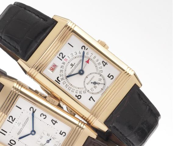 Jaeger LeCoultre. A fine 18ct rose gold reversible calendar wristwatch with box and papers Ref: 270.2.36, recent