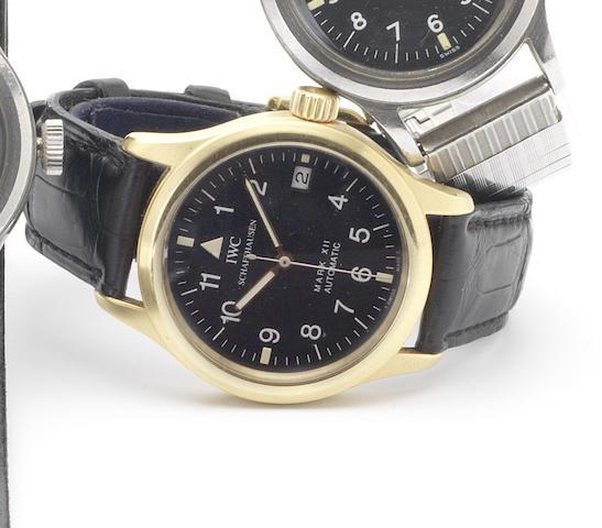 IWC. A fine 18ct gold centre seconds calendar wristwatchMark XII, Die Fliegeruhr, Ref:3241, 1990's
