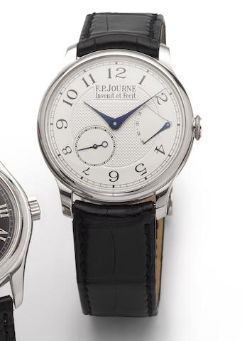 F.P. Journe. A fine platinum manual wind wristwatch with power reserve together with box and papers Souverain, No.816-CS, Sold 5th June 2008