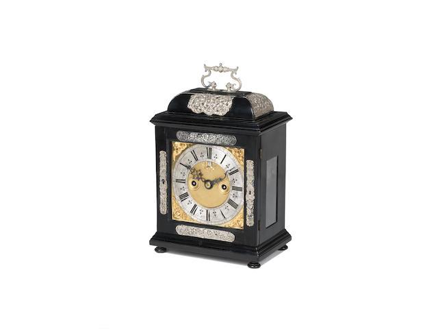 A rare late 17th century silver mounted ebony?? veneered bracket clock Luke Wise,Reading