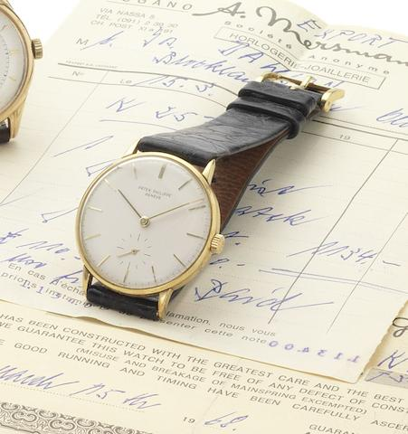 Patek Philippe. A fine 18ct gold manual wind wristwatch together with original bill of sale dated 1968 Ref:3140, Case No.2641206, Movement No.733050, Sold March 15th 1968