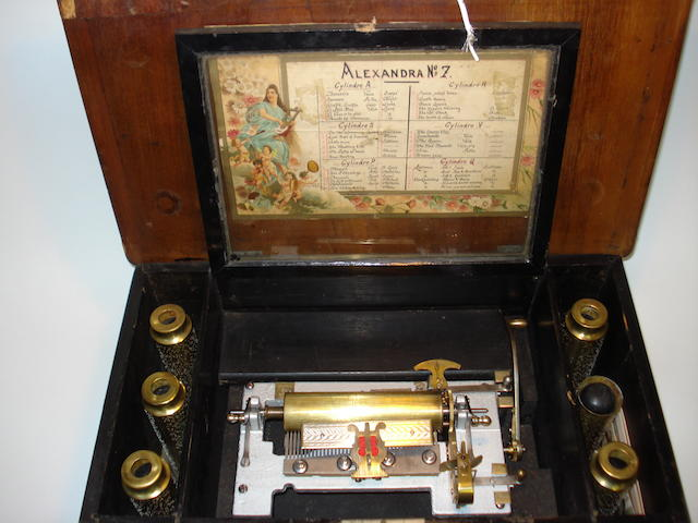 "An Alexandra interchangeable ""cuff"" cylinder musical box, playing thirty-six airs, circa 1895,"