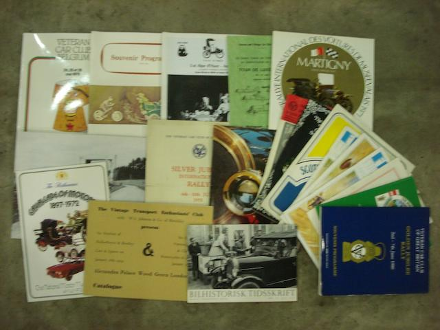 Veteran and Vintage Car Rally Programmes,