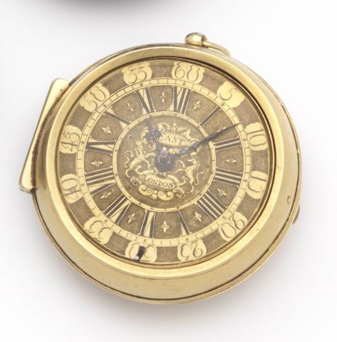 Edward East. A fine and rare 22ct gold pair cased watch Number 140, Hallmarked London, circa 1695