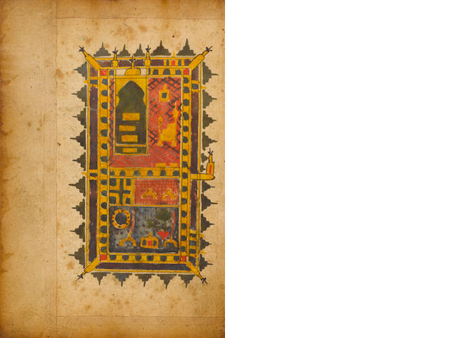 Abu Abdullah Muhammad ibn Suleyman al-Jazuli, Dala'il al-Khayrat, with two diagrams of the holy shrines of Mecca and Medina India, 19th Century