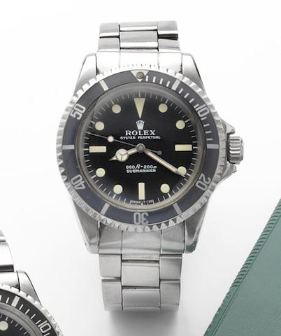 Rolex. A fine stainless steel centre seconds automatic wristwatchSubmariner, Ref:5513, Made in March 1964