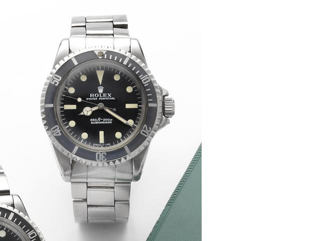 Rolex. A fine stainless steel centre seconds automatic wristwatch Submariner, Ref:5513, Made in March 1964