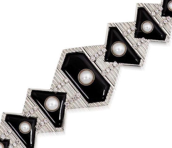 An art deco onyx, half-pearl and diamond bracelet,