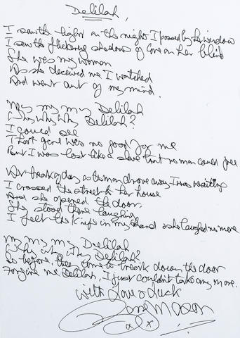 Barry Mason: A set of handwritten lyrics, for 'Delilah' as performed by Tom Jones,