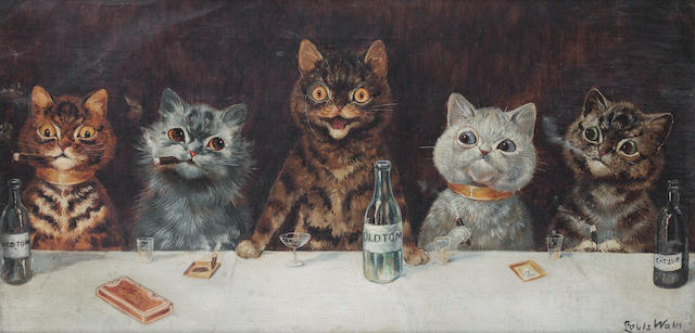 Louis Wain (British, 1860-1939) The Bachelor Party