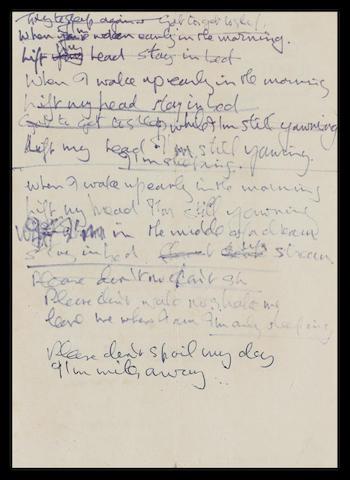 Bonhams : John Lennon's handwritten lyrics for 'I'm Only