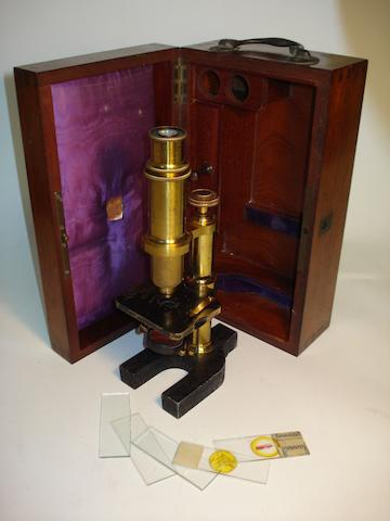 A monocular microscope, by Broadhurst, Clarkson & Co., early 20th century,