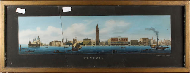 A pair of late 19th Century overpainted prints of Lago Maggiore and Venezia